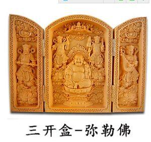 Oriental-Vintage-Boxwood-Handwork-Carved-Buddha-Statue-Smiling-Face-Buddha