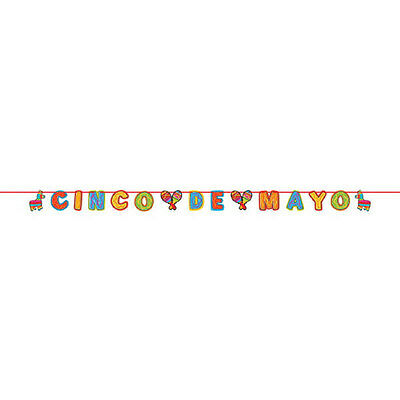 Cinco De Mayo Mexican Fiesta Party Glitter Paper Letter Banner Decoration