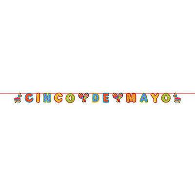 Cinco De Mayo Mexican Fiesta Party Glitter Paper Letter Banner Decoration