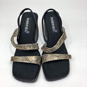 Fashion Bug Sandals Size 8 5 Black Strappy Wedged Sandals New Black Ebay