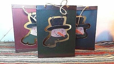 """Snowman, Nesting, Wooden """"Gift Bags"""",Rustic, Cutouts ,Home Decor, Winter Theme"""