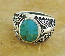 THICK MENS STERLING SILVER TURQUOISE EAGLE RING size 10  style# r1260