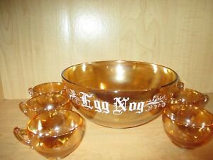 Luster-Jeannette-Glass-Vintage-Marigold-Iridescent-Egg-Nog-Punch-Bowl-w-6-Cups