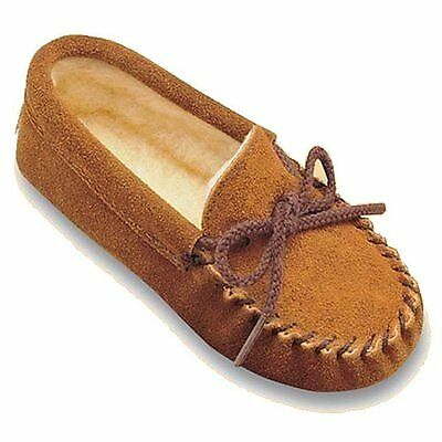 Minnetonka Children/'s 2363  Brown Suede Pile Lined Softsole Moccasin 8M New