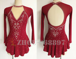 76d3fb7796d95 Details about competition ice figure skating Dress wine red Skating Wear  Breathable Handmade
