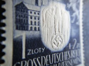 Germany Nazi 1943 Stamps MINT Embossed Swastika Eagle Generalgouvernement WWII T