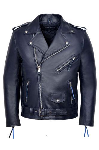 blu scuro Designer pelle in Biker Fitted Classic Mens Brando RxUwqZ0pc