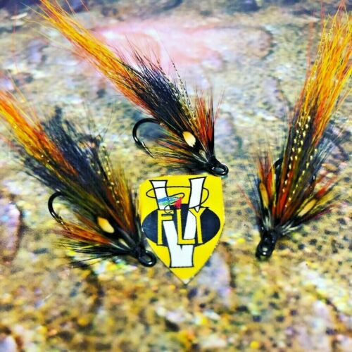 3 V Fly Size 8 Cascata Oro Willie Gunn DOPPIA SALMONE MOSCHE