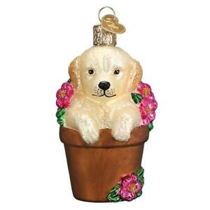 Old-World-Christmas-PUPPY-IN-FLOWER-POT-12559-N-Glass-Ornament-w-OWC-Box