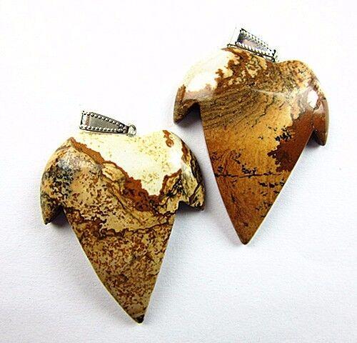 2PCS Beautiful unique khaki picture jasper carved tooth pendant bead Vk4460