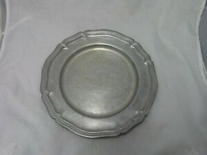 Country-Ware-1974-10-5-034-Pewter-Plate-200-CW-Solid-Rare