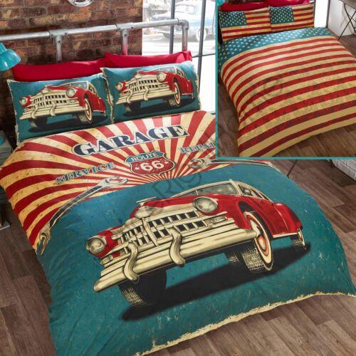 Rétro Garage Simple Parure De Lit Réversible voiture américaine USA Stars Stripes