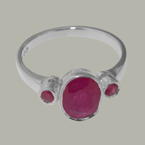 Sizes 4 to 12 Details about  /Solid 925 Sterling Silver Natural Ruby Womens Trilogy Ring