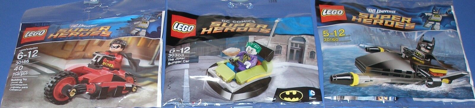 3x Lego Super Helden  Batman  Joker , Robin und Batman   Alle 3 mit Zubehör OVP