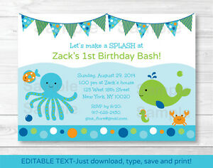 Nautical Crab Under The Sea Printable Birthday Invitation Editable PDF