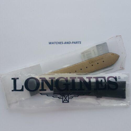Longines Black Crocodile Print/Grain Leather strap 20/16mm NEW GENUINE ORIGINAL