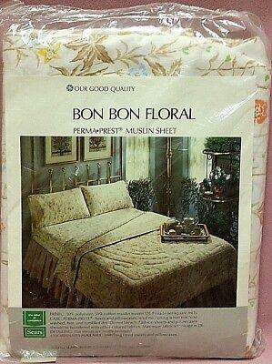 Bon Bon Floral Perma Prest Muslin Full Flat Sheet Sears