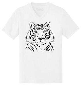 Mens-Tiger-Graphic-Triblend-V-Neck-Animal
