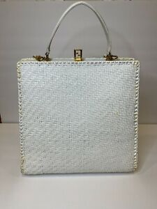 Authentic Fendi Vintage White Wicker Rattan Woven & Leather Hand/Shoulder Bag