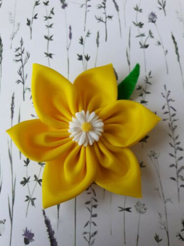 Lovely little handcrafted yellow fabric flower brooch with small daisy centre