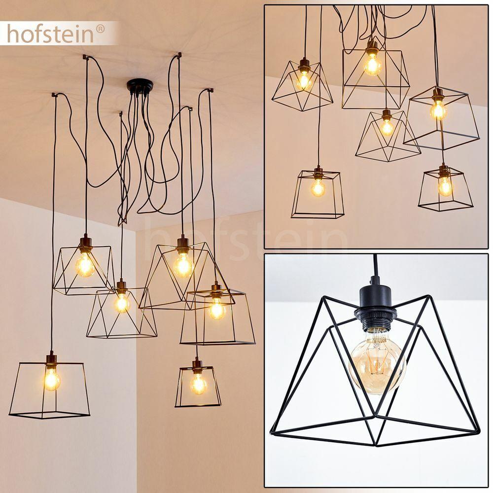 Pendel Hänge Lampen 6-flammig Wohn Schlaf Ess Zimmer Raum Beleuchtung Schwarz