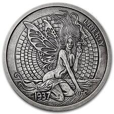 Limited 1 oz Hobo Nickel Antiqued Art Round Green Fairy Fishbone Silver w/ COA