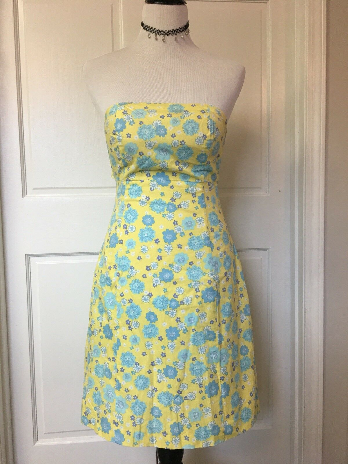 Lilly Pulitzer Yellow & bluee Floral Print Halter Sundress Sz 0