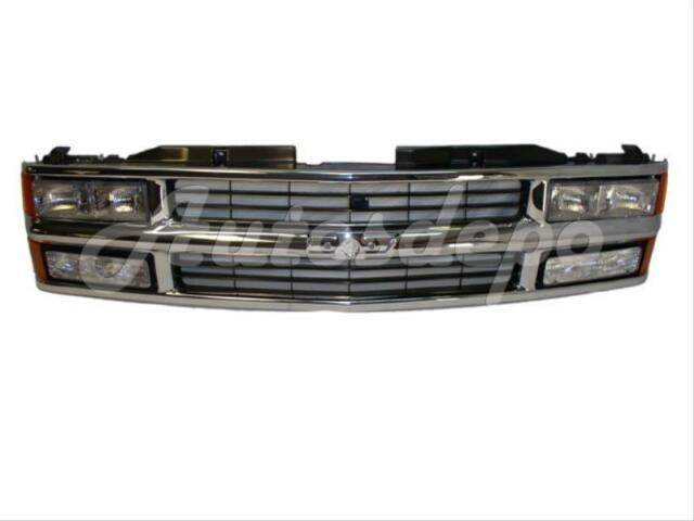 1994-1999 Chevy C1500 C2500 C3500 Pickup Chrome Grille Headlight Signal Set 9pcs