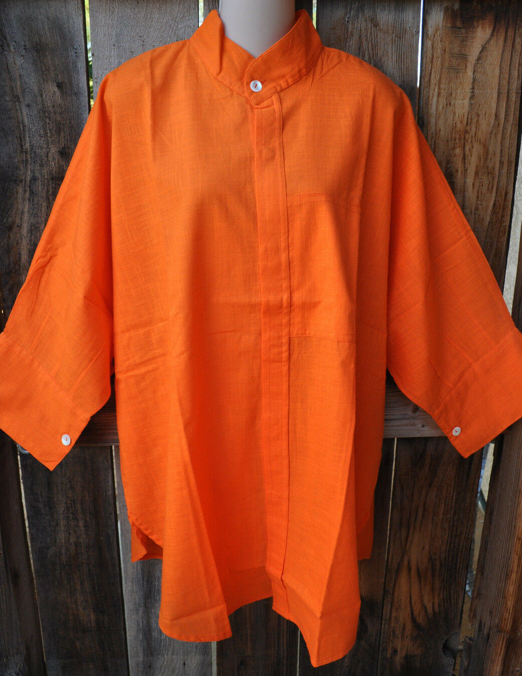 DILEMMA ART TO WEAR HAND WOVEN 100% COTTON BIG SHIRT IN BRIGHT Orange,OS+
