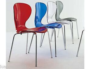 Set 4 sedie policarbonato trasparente sedia stile kartell design