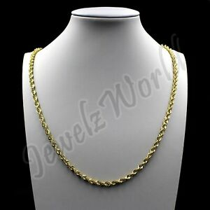 Real-10K-Solid-Yellow-Gold-2-5mm-Diamond-Cut-Rope-Chain-Pendant-Necklace-16-034-30-034