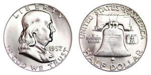 1957-P-Franklin-Half-Dollar-Brilliant-Uncirculated-BU