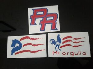 Puerto Rico Car Vinyl Decal Car Sticker Lot of 3