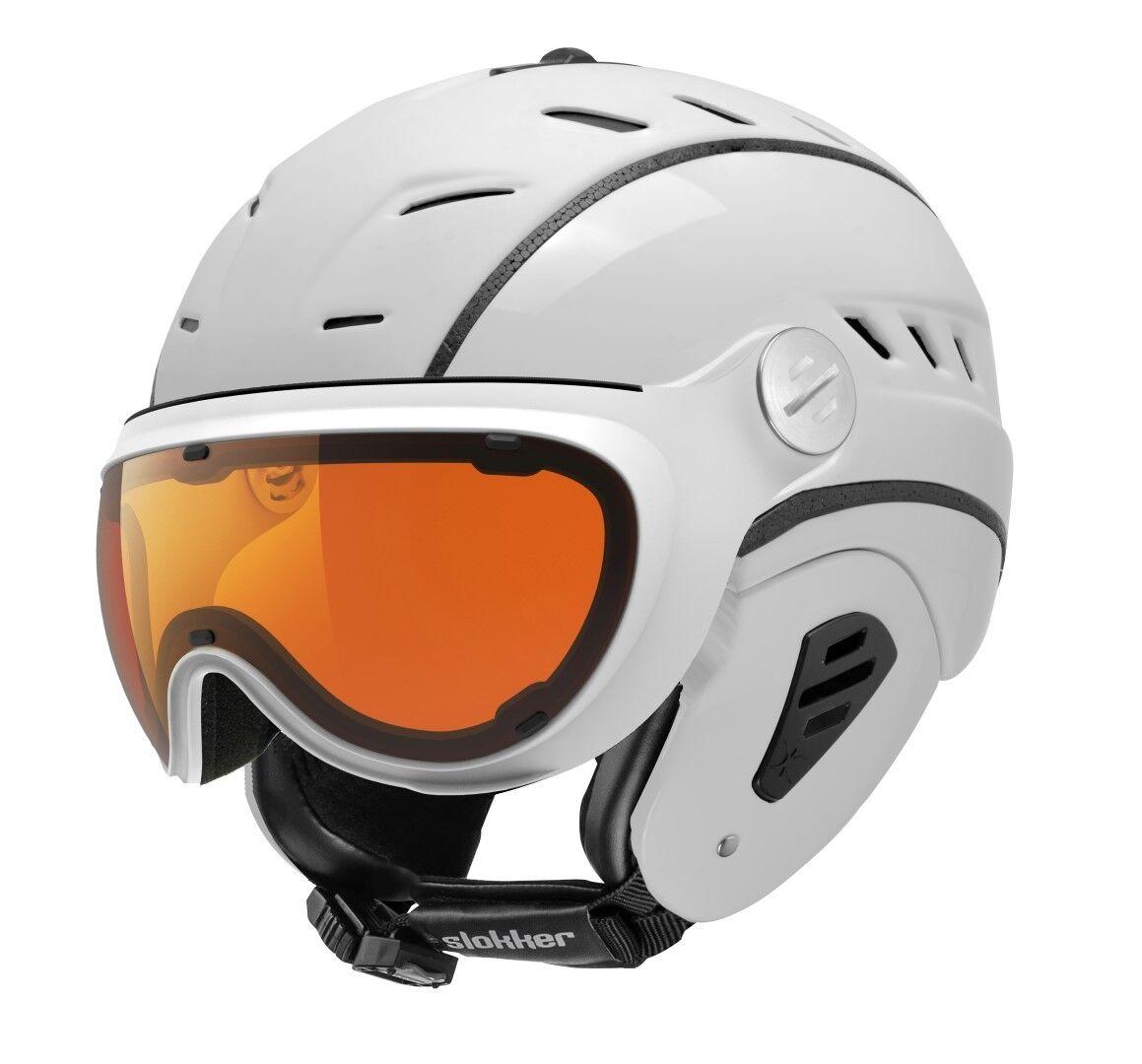 Slokker BAKKA Weiß Visier Skihelm Snowboardhelm Helm optimal für Brillenträger
