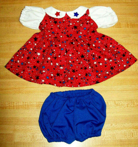"""4TH JULY RED//WHITE//BLUE STAR STARS dress set for 16-17/"""" CPK Cabbage Patch Kids"""