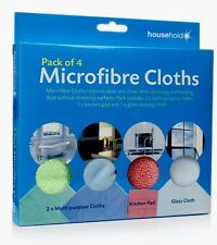 PACK OF 4 MICROFIBRE CLOTHS FOR TV WINDOW KITCHEN PAD AND MULTI-PURPOSE CLOTHS
