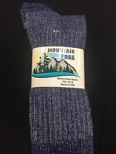 3 Pair of Mountain Pass 72% Merino Wool Heather Blue Socks Large 9-12 shoe