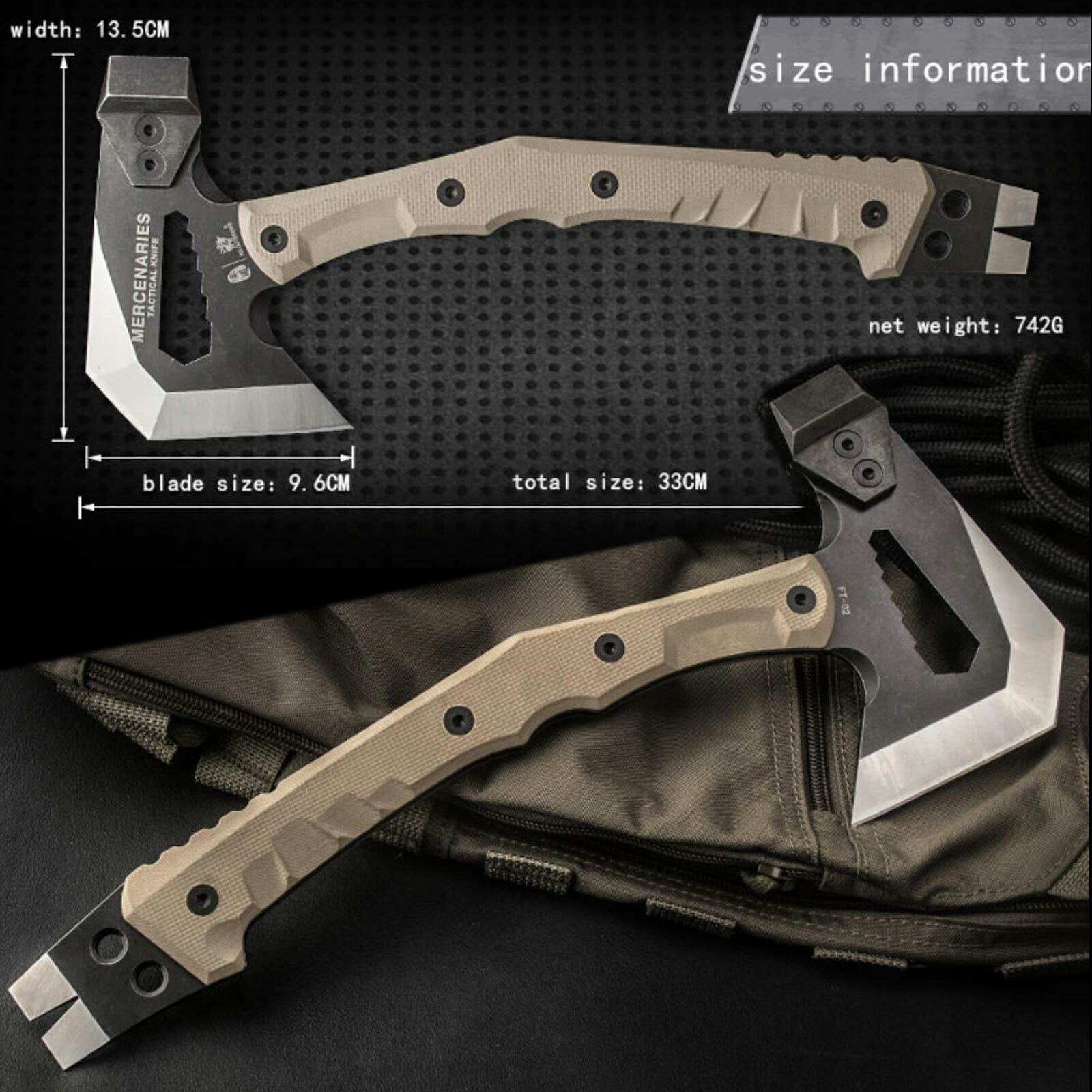 HX Outdoors FT-02 Tactical Axe 440C G10 Kydex  Sheath Multi-Tool  70% off