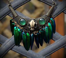 LG Bronze Cat Skull Tribal Real Jewel Beetle Wing Bib Necklace Goth/Occult/Alt