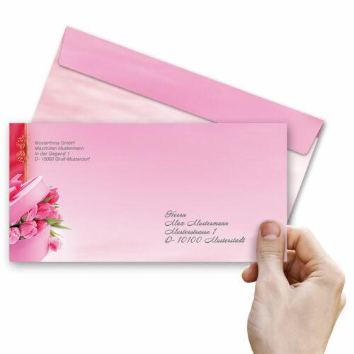 DIN LANG Motiv-Briefumschläge TULPEN-BOX 10 Stück ohne Fenster
