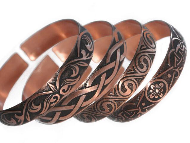 4 Pure 100 Copper Bracelets Bioactive Bangles Vintage Style Bronze
