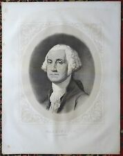 GEORGE WASHINGTON Large Lithograph Print After A Work By GILBERT STUART C1875
