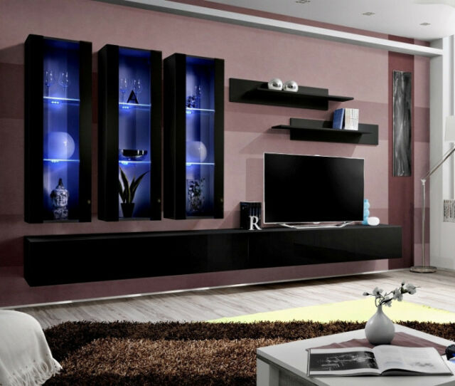 Idea E1 Black Modern Wall Unit Living Room Entertainment Center Tv Stand For Sale Online Ebay