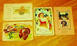 Antique-Lot-4-Embossed-Thanksgiving-Post-Cards-1912-1913-U-S-A