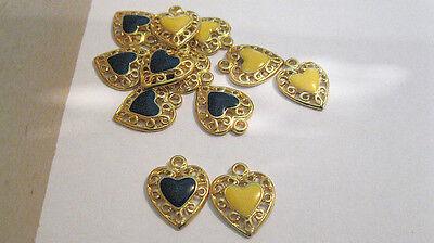 60 LOT Vintage Goldtone Filagree Hearts W/ Enamel Center Earrings  Necklaces