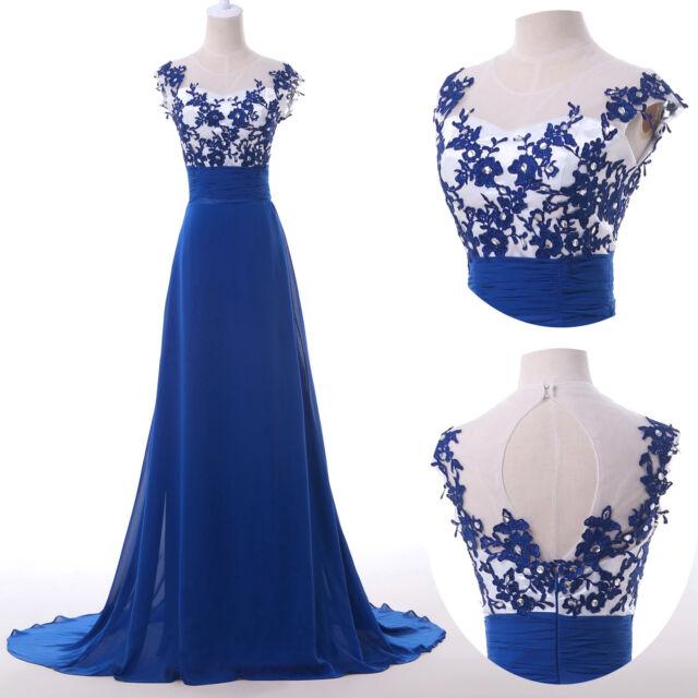 Long Maxi Blue Applique Evening Gowns Bridesmaid Dresses Prom Dress Formal Party
