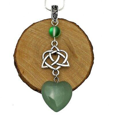 Handmade Silver Tone Wicca Triple Moon Heart Pendant White Quartz Heart Necklace