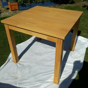 EXTENDABLE BEECH DINING TABLE AND 4 100% CREAM LEATHER ...