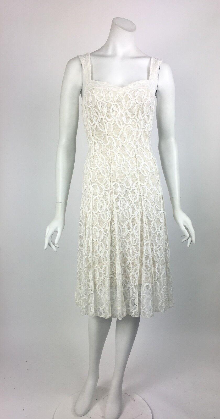 Elana Kattan Sleeveless Flared Ivory Lace Dress Wedding Bridal NWT NWT NWT Sz Small 2e7c80