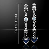Lighthouse And Heart .925 Sterling Silver Earrings Choice Of Gem By Peter Stone
